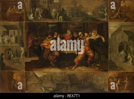 The Story of the Prodigal Son. Dating: 1600 - 1620. Measurements: h 61 cm × w 85 cm; d 4.6 cm. Museum: Rijksmuseum, Amsterdam. Author: Frans Francken (II). Francken, Frans, the Younger. - Stock Photo