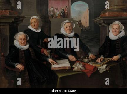 Three Regentesses and the 'House Mother' of the Amsterdam Lepers' Asylum. Three regentesses and the housemistress of the Leper-House, Amsterdam. Dating: 1624. Measurements: support: h 132 cm × w 189.5 cm; w 31.2 kg. Museum: Rijksmuseum, Amsterdam. Author: Werner van den Valckert. - Stock Photo