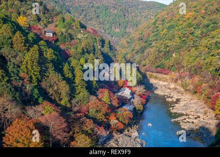 aerial view of arashiyama, kyoto, japan in autumn - Stock Photo