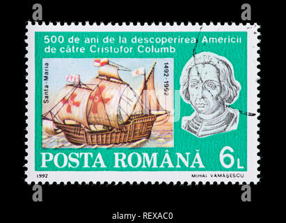 Postage stamp from Romania depicting Christopher Columbus and the Santa Maria, on the 500th anniversary of the discovery of the New World. - Stock Photo