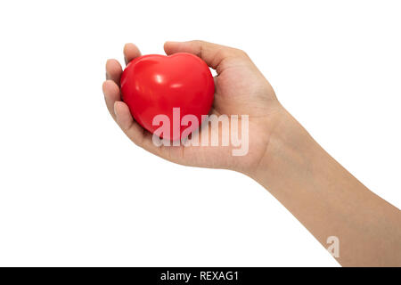 Stress reliever foam ball on woman hand isolated on white background. - Stock Photo