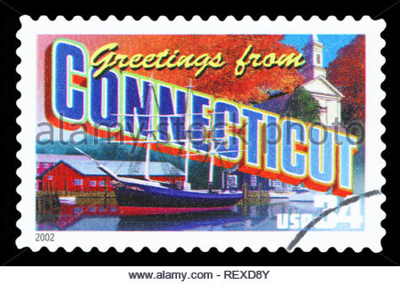 UNITED STATES - CIRCA 2002: a postage stamp printed in USA showing an image of the Connecticut state, circa 2002. - Stock Photo