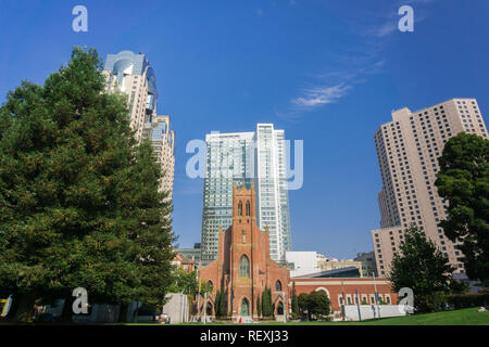 September 5, 2017 San Francisco/CA/USA - St. Patrick's Catholic Church in Yerba Buena gardens surrounded by museums and skyscrapers in downtown San Fr - Stock Photo