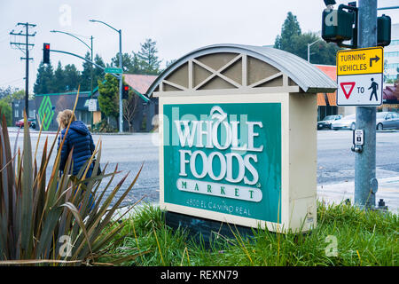 January 9, 2018 Los Altos / CA / USA - Whole Foods sign at one of their supermarkets located in San Francisco bay area - Stock Photo