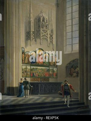 The Ghent Altarpiece by the van Eyck Brothers in St Bavo Cathedral in Ghent. Dating: 1829. Place: Belgium. Measurements: h 101.5 cm × w 81.3 cm; d 10.8 cm. Museum: Rijksmuseum, Amsterdam. Author: Pierre François De Noter (mentioned on object). De Noter, Pieter-Frans. - Stock Photo
