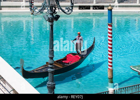 Las Vegas, Nevada, USA - September 1, 2017: The gondola at Grand Canal at The Venetian Resort Hotel and Casino.  This luxury hotel opened on May 3, 19 - Stock Photo