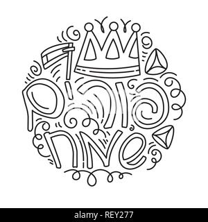 Purim greeting card and coloring page in doodle style with crown, noise make, hamantaschen and Hebrew text Happy Purim. Black and white vector illustration. - Stock Photo