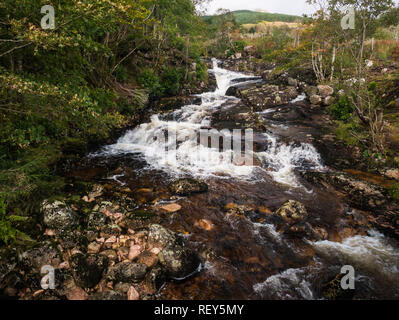 Waterfall in Glen Etive in the Glen Coe area in Scotland - Stock Photo