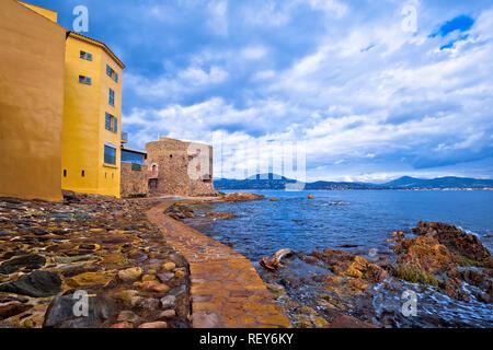 Saint Tropez village old seafront view, famous tourist destination on Cote d Azur, Alpes-Maritimes department in southern France - Stock Photo