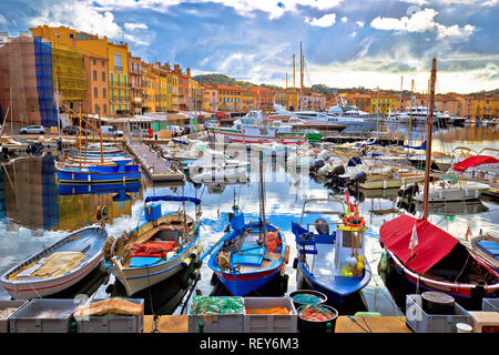 Colorful harbor of Saint Tropez at Cote d Azur view, Alpes-Maritimes department in southern France - Stock Photo