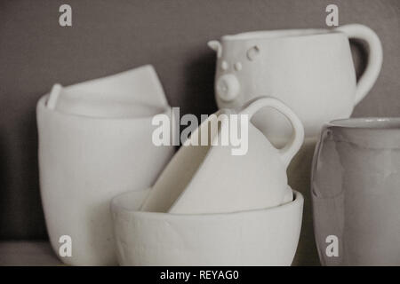 Decorative clay cups closeup with shallow DOF. - Stock Photo