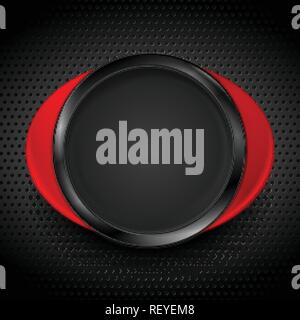 Black and red glossy circle shapes on dark perforated metallic texture. Technology concept vector design - Stock Photo