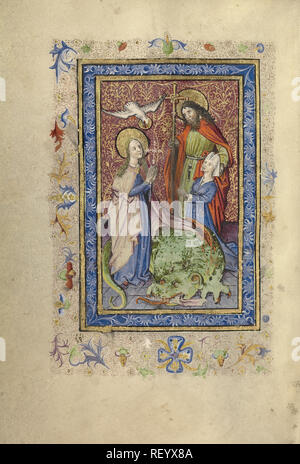 A Bearded Saint with Cruciform Staff Presenting a Kneeling Woman to Saint Margaret; Unknown; Brabant (possibly), Flanders, Belgium; after 1460; Tempera colors, gold leaf, and ink on parchment; Leaf: 17.1 x 12.2 cm (6 3/4 x 4 13/16 in.); Ms. Ludwig IX 9, fol. 13v - Stock Photo