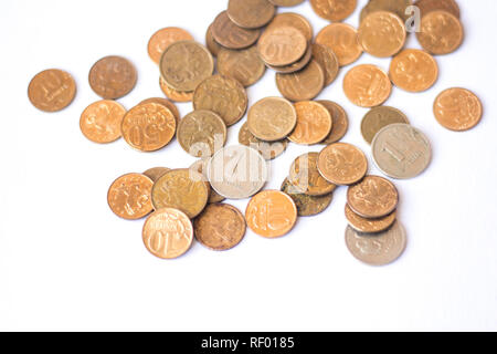 Russian coins isolated on white background. Russian money. Business and Finance - Stock Photo