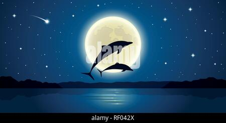 two dolphins jump out of the water in the moonlight vector illustration EPS10 - Stock Photo