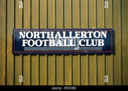 Signage at Northallerton Town FC Football Ground, Ainderby Road, Romanby, Northallerton, North Yorkshire, pictured on 2nd April 1994 - Stock Photo