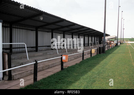 Covered terracing at Northallerton Town FC Football Ground, Ainderby Road, Romanby, Northallerton, North Yorkshire, pictured on 2nd April 1994 - Stock Photo