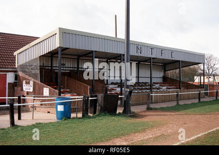 The main stand at Northallerton Town FC Football Ground, Ainderby Road, Romanby, Northallerton, North Yorkshire, pictured on 2nd April 1994 - Stock Photo