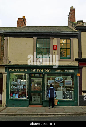N and F Young painters and decorators high street shop Amble  Amble is a small town on the north east coast of Northumberland in North East England. - Stock Photo