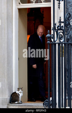 Chris Grayling MP (Conservative: Epsom and Ewell) meeting Larry the Cat while leaving Downing Street after a cabinet meeting, London, UK, 22.01.2019 - Stock Photo