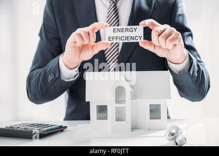 cropped view of businessman holding paper card near calculator and lamps on white background, energy efficiency at home concept - Stock Photo