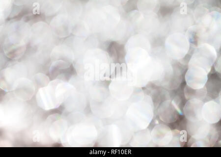 abstract White and gray with glitter, Bokeh circles for Christmas background - Stock Photo