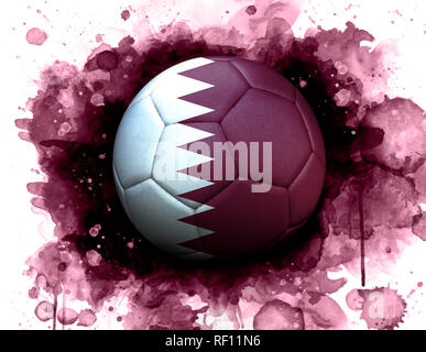 Soccer ball with flag of Qatar, close up, watercolor effect on white background. World cup 2022 in Qatar. - Stock Photo