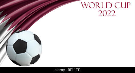 Qatar wavy flag with soccer ball on white background with space for your text. World cup 2022 in Qatar. - Stock Photo