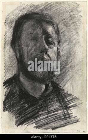 Self-portrait of George Hendrik Breitner. Draughtsman: George Hendrik Breitner. Dating: 1880 - 1923. Measurements: h 202 mm × w 132 mm. Museum: Rijksmuseum, Amsterdam. - Stock Photo