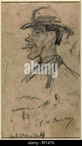 Self-portrait of Goerge Hendrik Breitner. Draughtsman: George Hendrik Breitner. Dating: 1880 - 1923. Measurements: h 158 mm × w 92 mm. Museum: Rijksmuseum, Amsterdam. - Stock Photo