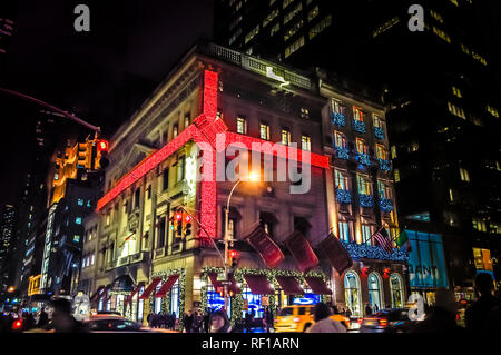New York City, NY / USA - 12 23 2013: Exterior christmas decorations of stores and shopping malls in Manhattan. Christmas famous decorations. - Stock Photo