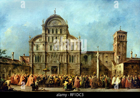 The Procession of the Doge of Venice at San Zaccaria  c. 1775–80, Francesco GUARDI, 1712 – 1793, Venice, Venetian, Italy, Italian, - Stock Photo