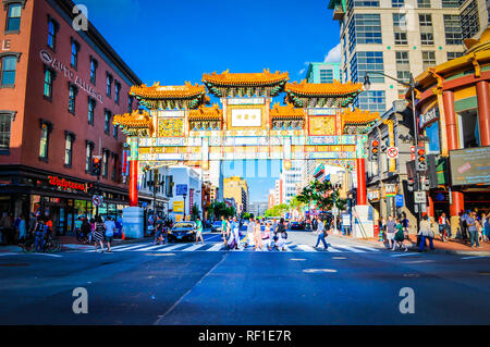 Washington, DC / USA - May 24 2014: Chinese Friendship Archway in the Chinatown area in Washington DC. - Stock Photo