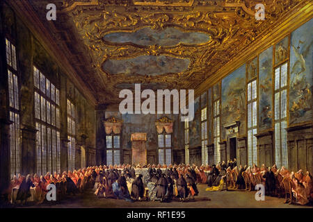 The Doge of Venice Giving a Banquet for the Ambassadors  1775–80  Francesco GUARDI, 1712 – 1793, Venice, Venetian, Italy, Italian, ( Sala del Collegio in the Doge's Palace ) - Stock Photo