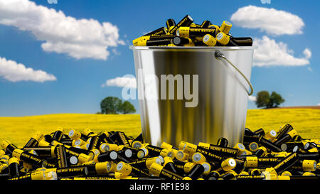 NiMH Batteries in a Bucket - 3D Rendering - Stock Photo