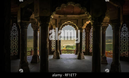White marble interior rooms at palaces inside Agra Fort fortress UNESCO heritage site in Agra,  Uttar Pradesh, India. - Stock Photo