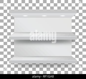 Empty bunk shelf in a supermarket on transparent checkered background. Vector - Stock Photo