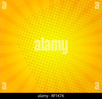Sunburst on yellow background with dots. Template for your design, concept of hot summer. Radial sun rays.Vector illustration. - Stock Photo