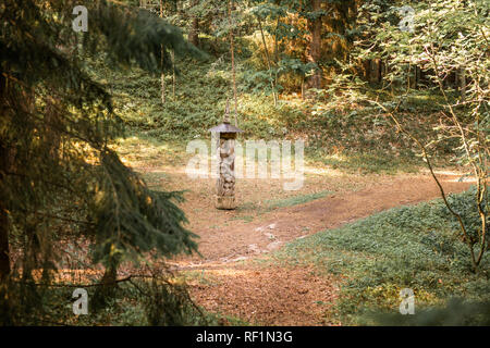 JUODKRANTE, LITHUANIA - AUGUST, 2018: Traditional Lithuanian Raganu kalnas wood carving art sculptures of folk musicians in public nature park in Juod - Stock Photo