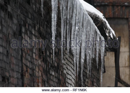 Icicles hanging from roof of the building, water drips from them/ fall icicles, sudden warming, сold winter, poor thermal insulation, ice stalactite. - Stock Photo