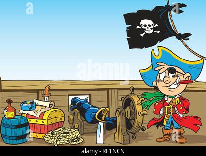 The illustration shows a young boy who plays the pirate. Illustration done in cartoon style. - Stock Photo