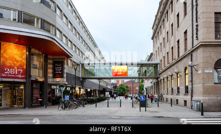 Malmo, Sweden - July 25, 2017:  Panoramic view of Stora Nygatan and Malmborgsgatan Street in the centre of Malmo in Sweden. Malmo is the largest city  - Stock Photo