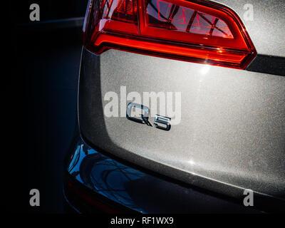 PARIS, FRANCE - OCT 10, 2018: Luxury Audi Q5 SQ7 SUV on a French street signage brand logo - Stock Photo