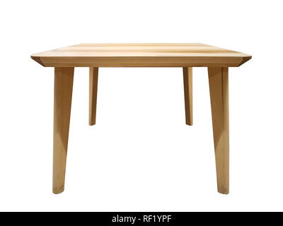 Modern and minimalist wooden table isolated on a white background - Stock Photo