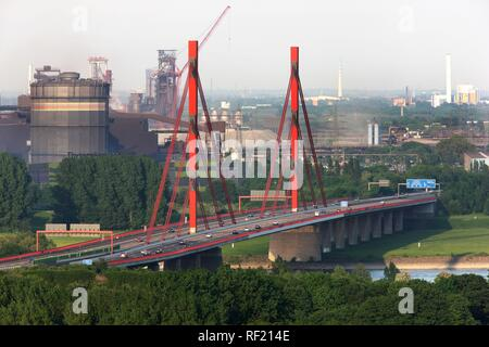 A42 motorway bridge over the Rhine River, known locally as the Emscherschnellweg between Duisburg and Moers - Stock Photo