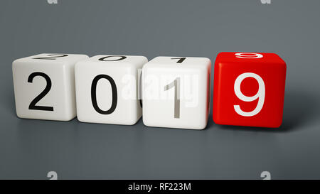 new year 2019 with some dice 3d illustration - Stock Photo