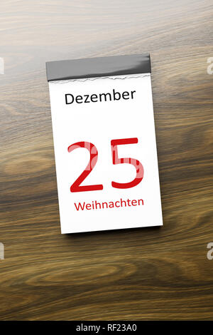 a calendar the 25th of December Christmas text in german language 3d illustration - Stock Photo