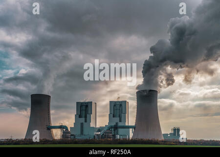 Germany, Grevenbroich, modern brown coal power station - Stock Photo