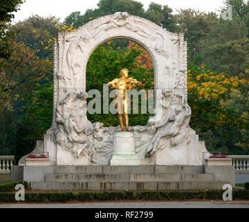 Johann Strauss Monument, Stadtpark, Vienna, Austria - Stock Photo