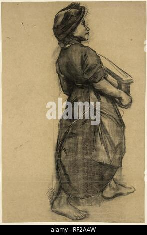 Maid at a brick factory. Draughtsman: Anthon Gerhard Alexander van Rappard. Dating: c. 1880 - c. 1890. Measurements: h 776 mm × w 500 mm. Museum: Rijksmuseum, Amsterdam. - Stock Photo